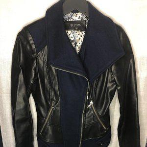 GUESS faux leather jacket w moto zip detail